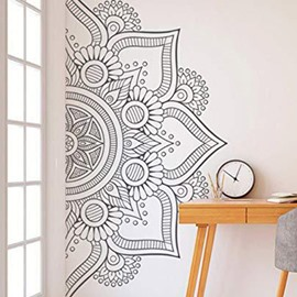 Mandala Wall Decal Black Mandala Decal Boho Mandala Wall Decor PVC Plain