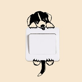 Vivid Cute Dog Light Switch Removable Wall Sticker
