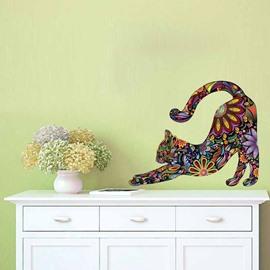 Colorful Mandala Stretching Cat Pattern Waterproof Self-adhesive Wall Stickers Removable Wall Decorations