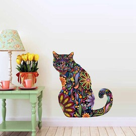 Colorful Mandala Cat Pattern Waterproof Self-adhesive Wall Stickers Removable Wall Decorations