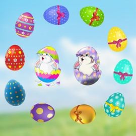 Easter Wall Stickers Self-adhesive Bunny Easter Eggs DIY Stickers Cartoon Wall Decorations