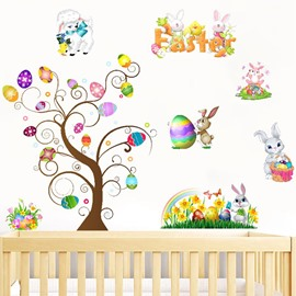 Easter Eggs Bunny Wall Stickers Self-adhesive DIY Stickers Cartoon Wall Decorations