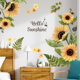 Sunflower Wall Decals Removable Self-adhesive Waterproof Wall Stickers DIY Wall Decorations