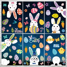 Easter Decoration Rabbit Window Clings No Gel Resuable Glass Stickers Cute Cartoon Glass Decorations for Kids' Room Home Office