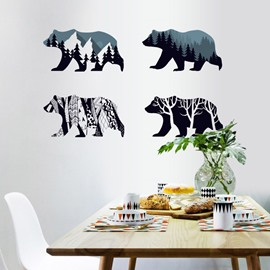 Polar Bear Cucoloris Waterproof Self Adhesive Wall Stickers Animal Decals Wall Decorations for Living Room