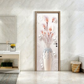 3D Vase Door Wall Sticker Decal Self Adhesive Mural Home Bedroom Decor