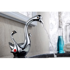 Elegant Swan Shape Pure Copper Bathroom Faucet