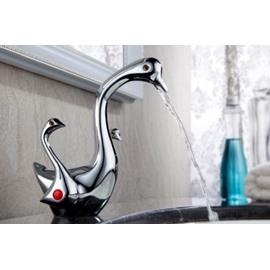 Elegant Swan Shape Pure Copper Bathroom Faucet