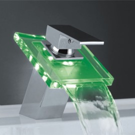 New Arrival Single Handle waterfall LED Three Color Faucet Changing Color by Temperature for Kitchen/Bathroom