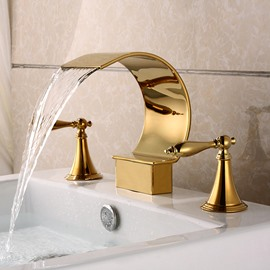 Golden Double Handles Stainless Steel Waterfall Faucet