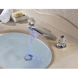 Contemporary Double Rhinestone Handles Stainless Steel Waterfall Faucet