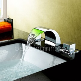 LED Color Changing Double Handles Solid Brass Waterfall Faucet