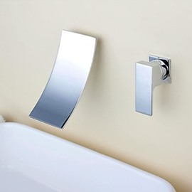 Modern Waterfall Chrome Brass Two Holes Single Handle Bathroom Sink Faucet
