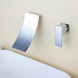 Modern Waterfall Chrome Brass Two Holes Single Handle Bathroom Sink Faucet