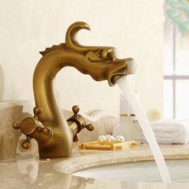 Dragon Head 2-Handle and1-Hole Hot/Cold Water Changing Bathroom Sink Faucet