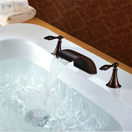 Bathroom Sink Deck Mount Waterfall Basin Mixer 3 Holes 2 Handles
