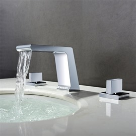 Bathroom Sink Faucet Deck Mount 3pcs Waterfall 3 Holes 2 Handles