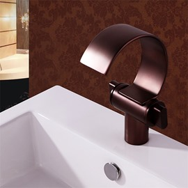 Bronze Deck Mount Waterfall Basin Mixer One Hole One Handle
