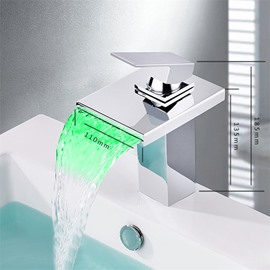 Square Waterfall LED Basin Mixer One Hole One Handle