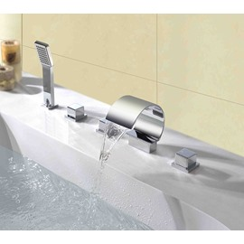 Arc-Shaped Cube Handles Five Piece Waterfall Faucet