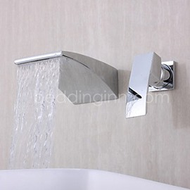 New Arrival Single Handle Widespread Waterfall Wall Mount Faucet