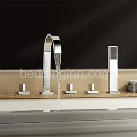 New Arrival High-Arc Spout Waterfall 5 Piece Brass Bathtub Faucet