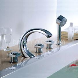 Modern Arc-Shaped  Brass Three Handles Waterfall Bathtub Faucet