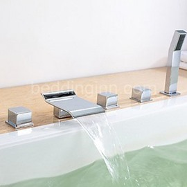 New Arrival Three Handles Widespread Waterfall Chrome Finish Bathtubs Faucet