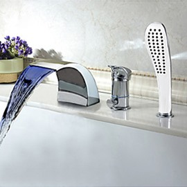 Modern Multi-color LED Widespread Waterfall Hand Shower Tub Faucet