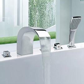 Contemporary Style Widespread Chrome Finish Stainless Steel Bathtub Faucets