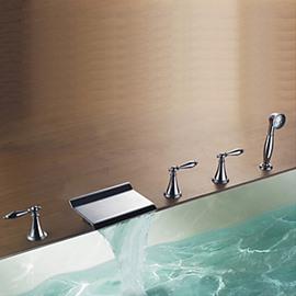 Modern Design Chrome Finish Rectangular Waterfall Tub Faucet
