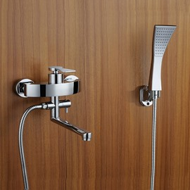 Contemporary Widespread Handshower Rotatable Spout Bathtub Faucet