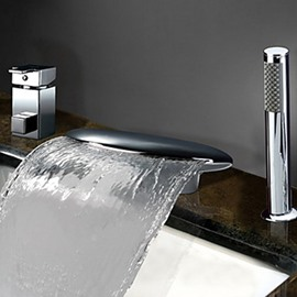 Two Handles Widespread Waterfall Chrome Finish Tub Faucet