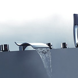 Modern Design Chrome Finish Widespread Waterfall Tub Faucet
