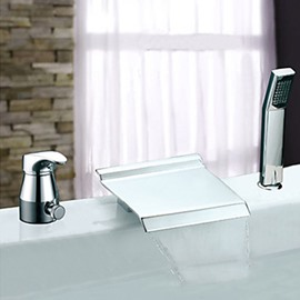 Widespread Two Handles Chrome Finish Waterfall With Handshower Tub Faucet