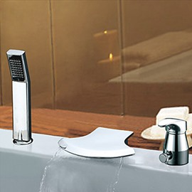 Contemporary Widespread Waterfall Two Handles Chrome Finish Semicircle Shaped Tub Faucet