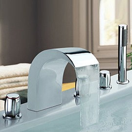 Amazing Chrome Finish Stainless Steel Widespread Bathtub Faucets