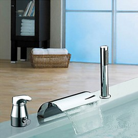 Modern Widespread Chrome Finish Two Handles Waterfall With Handshower Tub Faucet