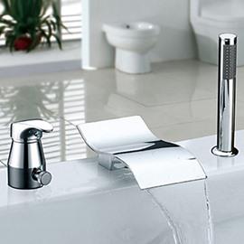 Modern Style Chrome Finish Widespread Waterfall Handshower Bathtub Faucet