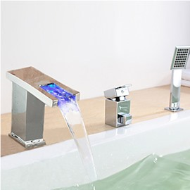 Modern LED Widespread Waterfall Bathtub Faucet