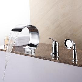 Glamorous Single Handle Three Holes with Hand Shower Bathtub Faucet