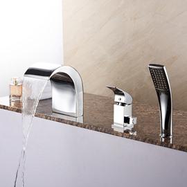 Fancy Contemporary Finish Three Holes Widespread Bathtub Faucet