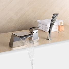 Simple Style Widespread Single Handle Three Holes Bathtub Faucet