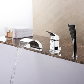 Contemporary Stainless Steel Chrome Single Handle Waterfall Bathtub Faucet