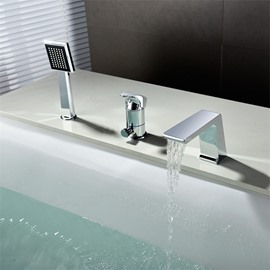Deck Mount 5pcs Waterfall Bathtub Faucet Single Handle