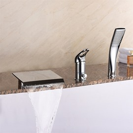 Bathtub Faucet Waterfall Style Chrome Type Contemporary 3 Holes