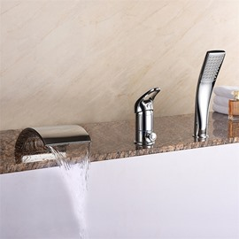 Chrome Type Waterfall Style Contemporary Style 3 Holes Single Handle