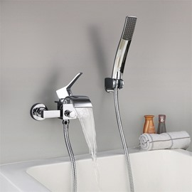 Waterfall Bathtub Faucet Hand Shower Finish Chrome One Hole