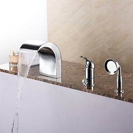 Waterfall Three-piece Bathtub Faucet Three Holes One Handle