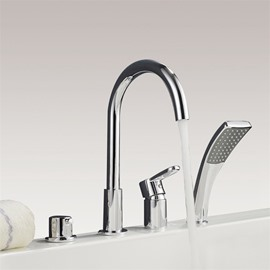 Bathtub Faucet 4PCS Finish Chrome Four Holes One Handle
